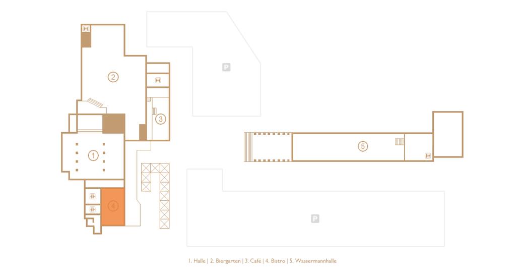 Grundriss der Veranstaltungs- und Eventlocation Halle Tor 2 mit Augenmerk auf dem Bistro (Orange markiert)