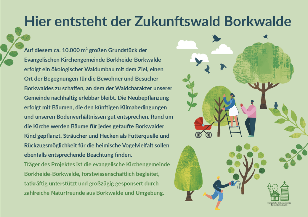 Infotafel, die an der Holzkirche in Borkwalde aufgestellt wird, um über das dort angesiedelte Projekt Zukunftswald zu informieren