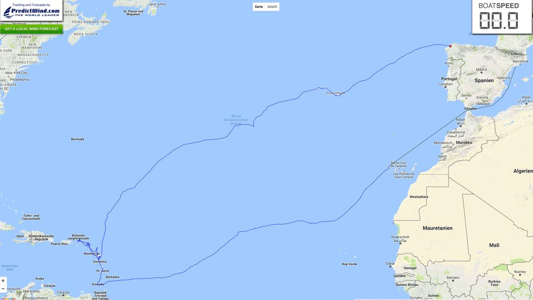 Gesamtroute: von Cambrils (Spanien) über die Antillen und Azoren zurück nach A Coruña (Spanien)
