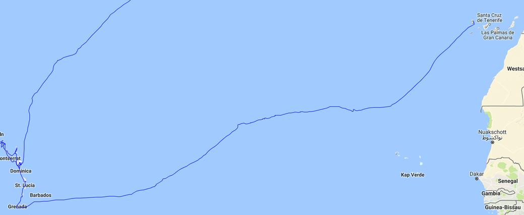 Überfahrt über den Atlantik (09.11. - 12.12.2016)