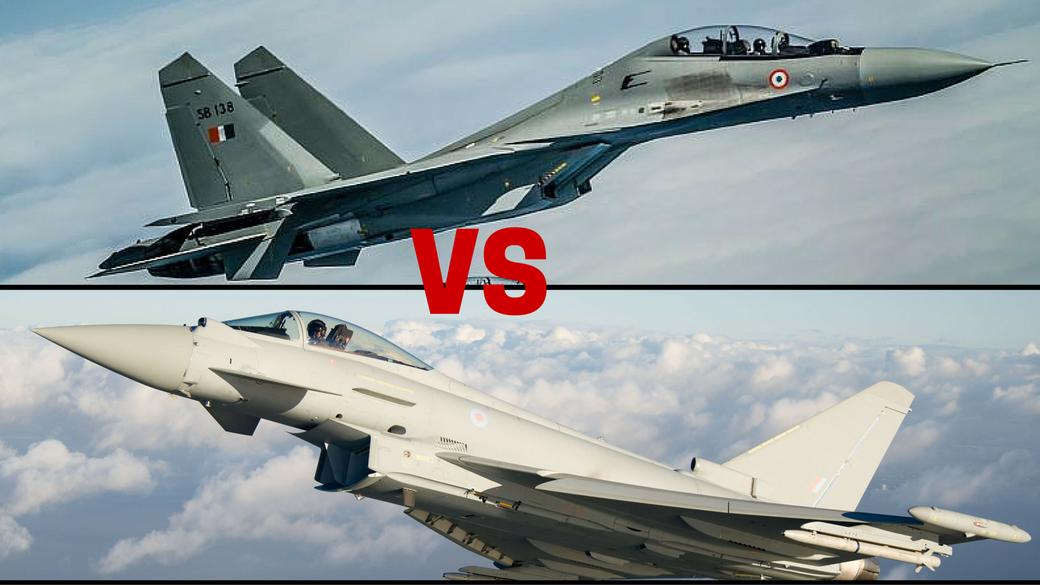 I due concorrenti messi a confronto Su-30MKI  Flanker ed EF-2000 Typhoon.