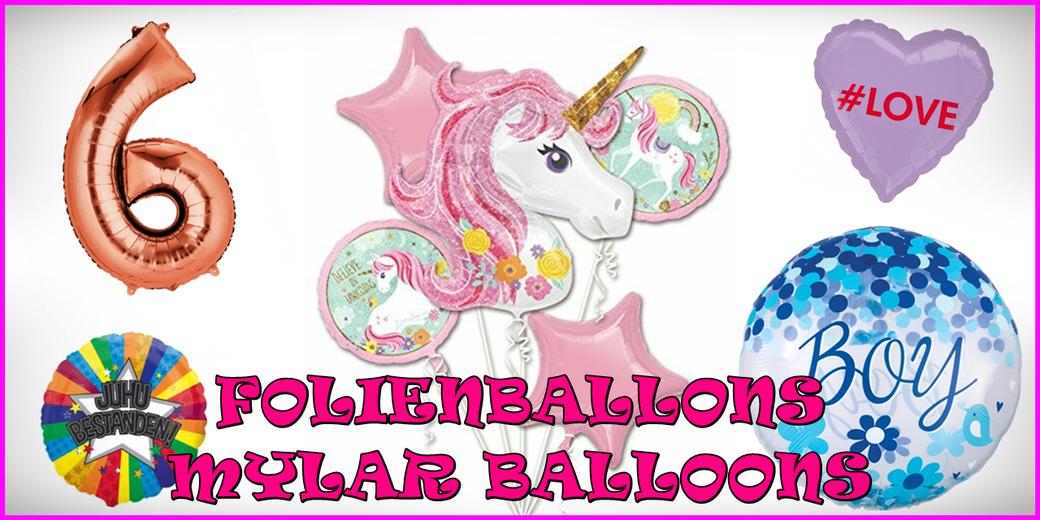 Folienballons Zahlenballons Geburt Geburtstag Motivballons Einhorn Helium