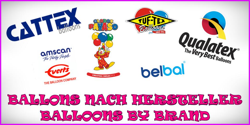 Ballons nach Hersteller - Balloons by brand QUALATEX BELBAL BSA PIONEER BALLOON COMPANY TUFTEX MAPLE CITY RUBBER CATTEX AMSCAN GLOBOS PAYASO
