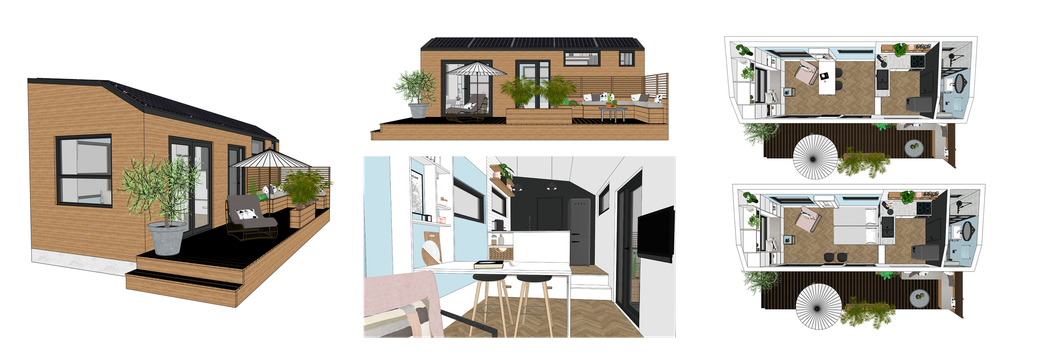 3D SketchUp tekening tiny house | interieur styling tiny house