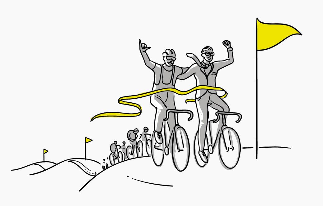 Teamgeist Fahrradrennen Illustration