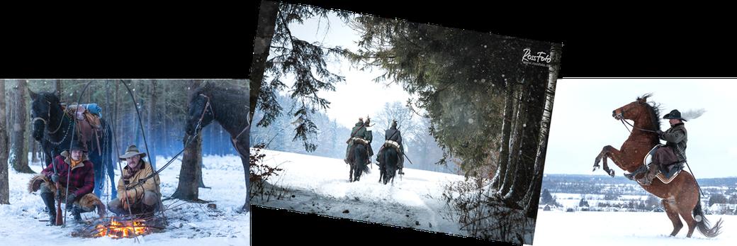 RossFoto Dana Krimmling; Deutscher Kavallerieverband; Kavallerie; Reiter der Kavallerie im Schnee quer durch die Jahrhunderte; Reenactment; Kaiserzeit; Siedlerzeit; 30 jähriger Krieg; Lagerfeuer im Schnee