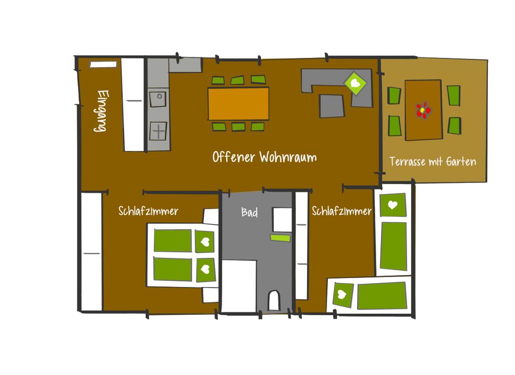 Grundriss rollstuhlgerechte Ferienwohnung Willam, Mittelberg, Kleinwalsertal, 56 qm für 2 bis 6 Personen