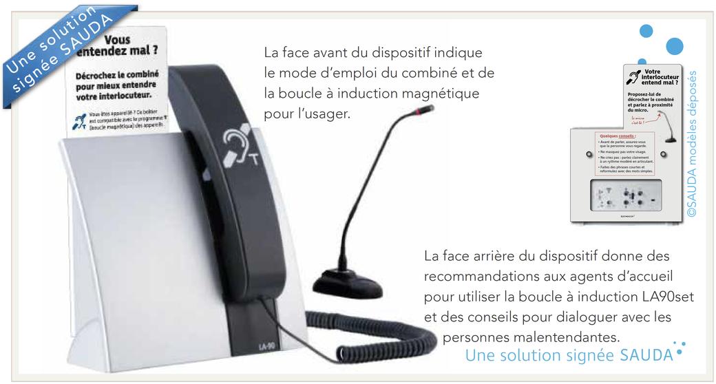 La face avant indique le mode d'emploi du combiné et de la boucle à induction magnétique pour l'usager. La face arrière donne des recommandations aux agents d'accueil pour utiliser la boucle à induction LA90set et des conseils.