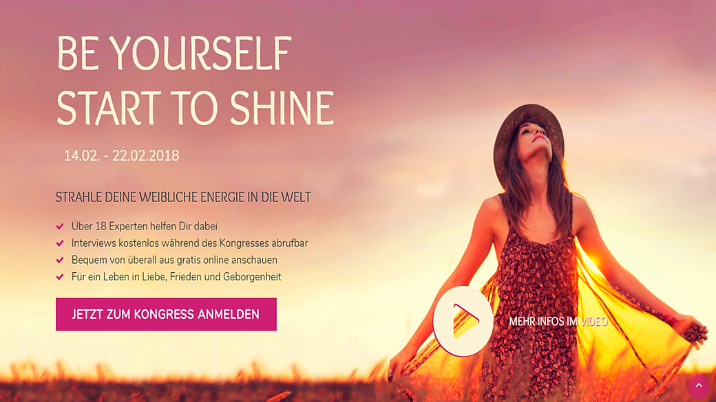 Be Yourself Start to Shine Onlinekongress, Strahle Deine weibliche Energie in die Welt, MeinKongress.de
