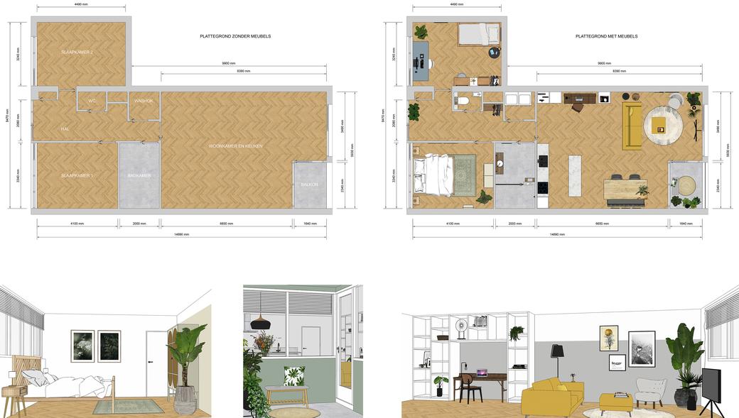 leegstaande woning, 3D interieur impressie, woonkamer ontwerp, slaapkamer ontwerp, balkon ontwerp