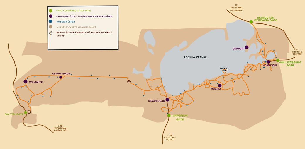 Karte Etosha Nationalpark