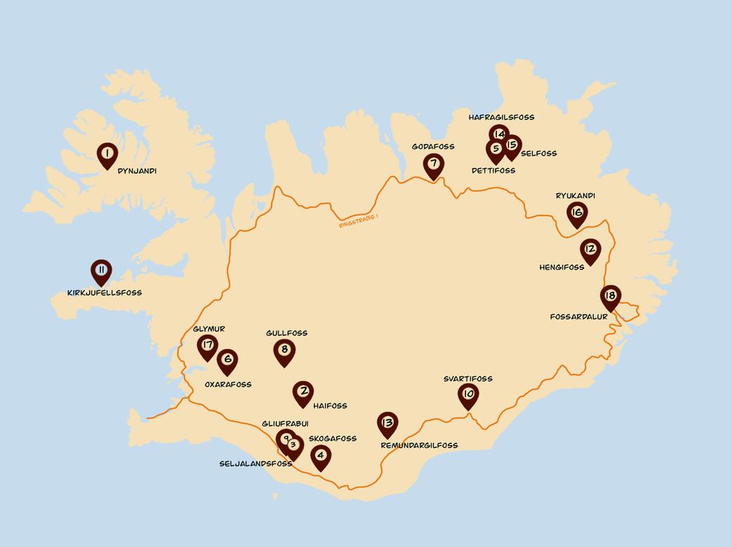 Wasserfälle in Island Karte