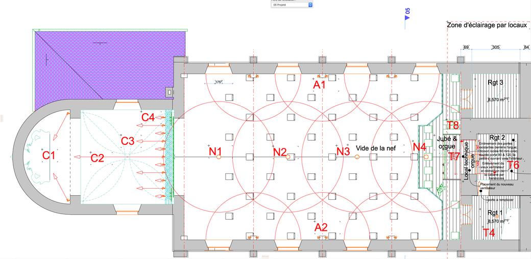 Plan de l'étage avec 1 groupe de 5 chaises dans le jubé + 4 chaises supplémentaires