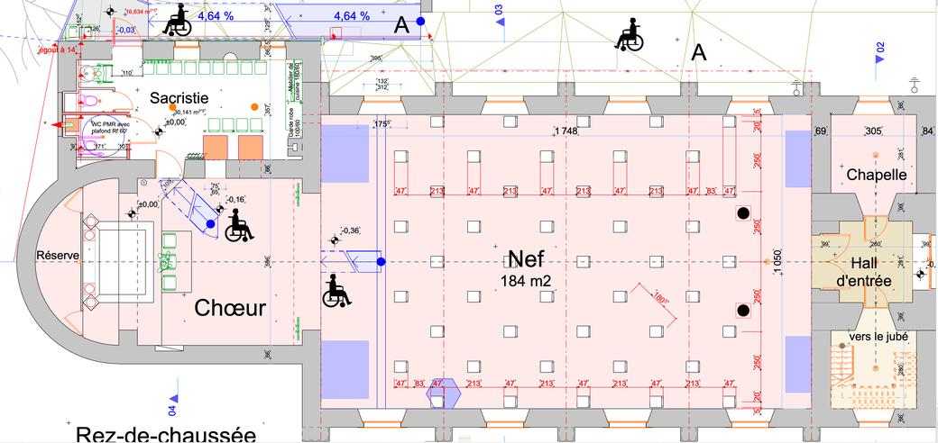 Plan du rez-de-chaussée avec 45 chaises