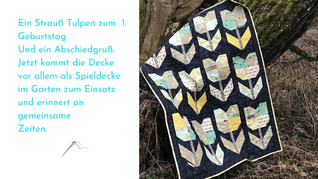 Patchwork Decke mit Tulpen Muster gequiltet