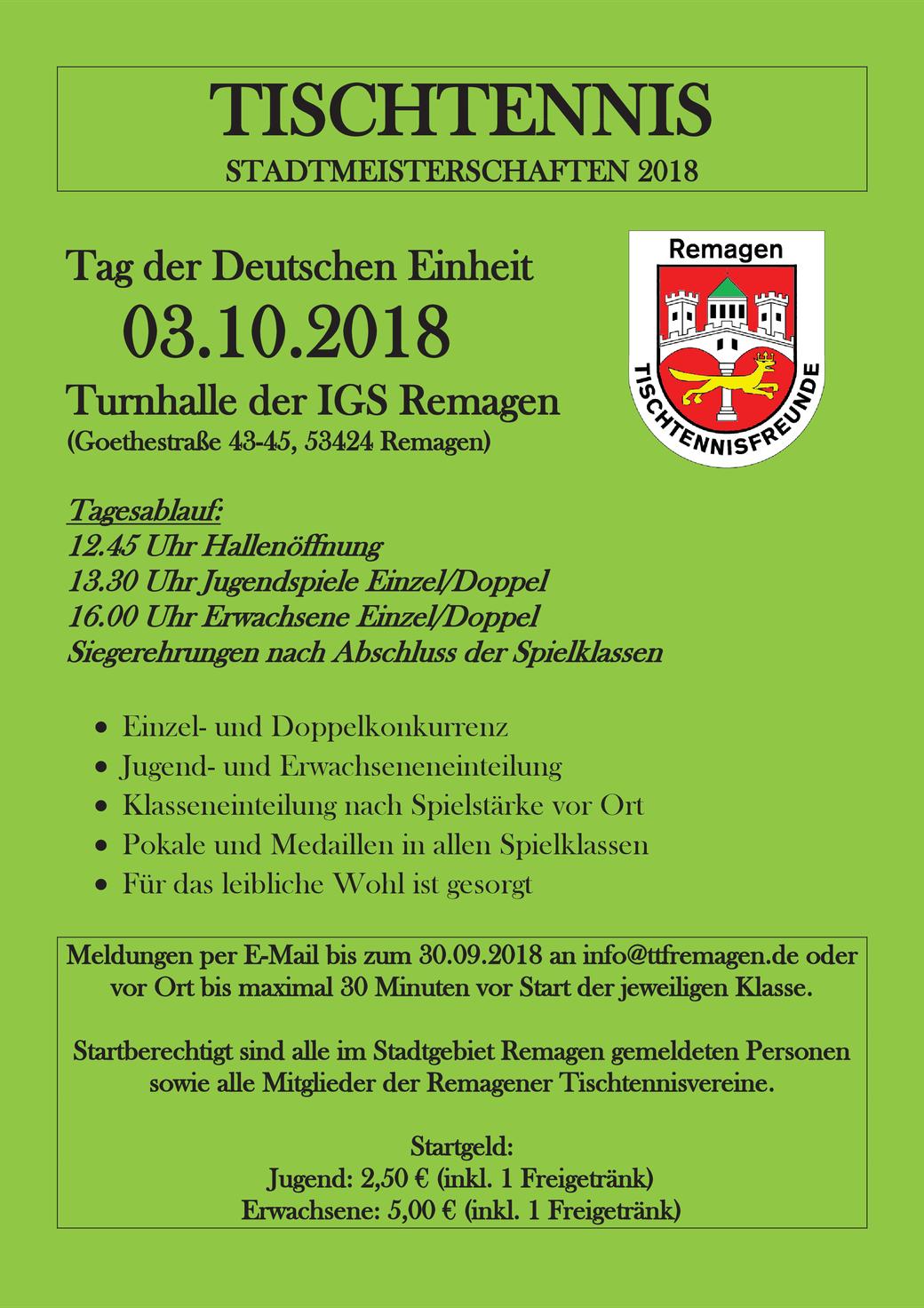 Einladung Tischtennis Stadtmeisterschaften 2018 in Remagen