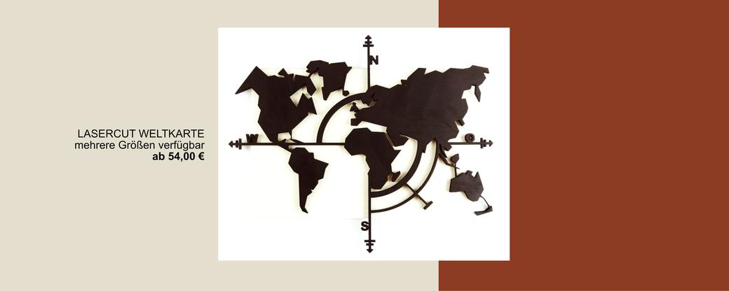 Lasercut Weltkarte aus Holz, schwarz lackiert in Kompass Optik