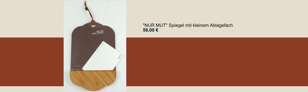"""""""nur Mut"""" gravierter Spiegel mit Lederaufhängung und kleinem Ablagefach"""