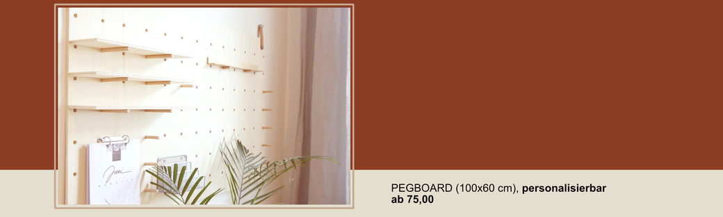 personalisierbares Pegboard aus Natur-Holz