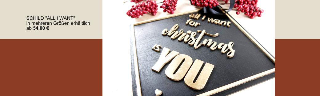 "Schild mit Lasercut Schriftzug ""all I want for christmas is you"" in schwarz-gold"