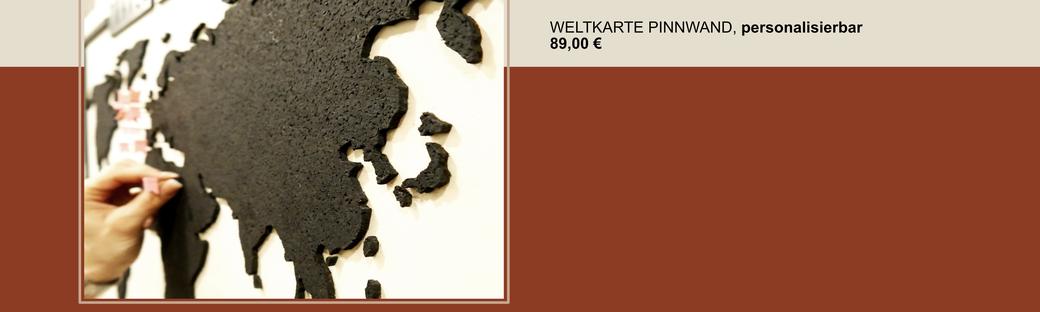 """Pinnwand Weltkarte aus Naturholz und Kork, personalisierbar """"travel the world"""""""