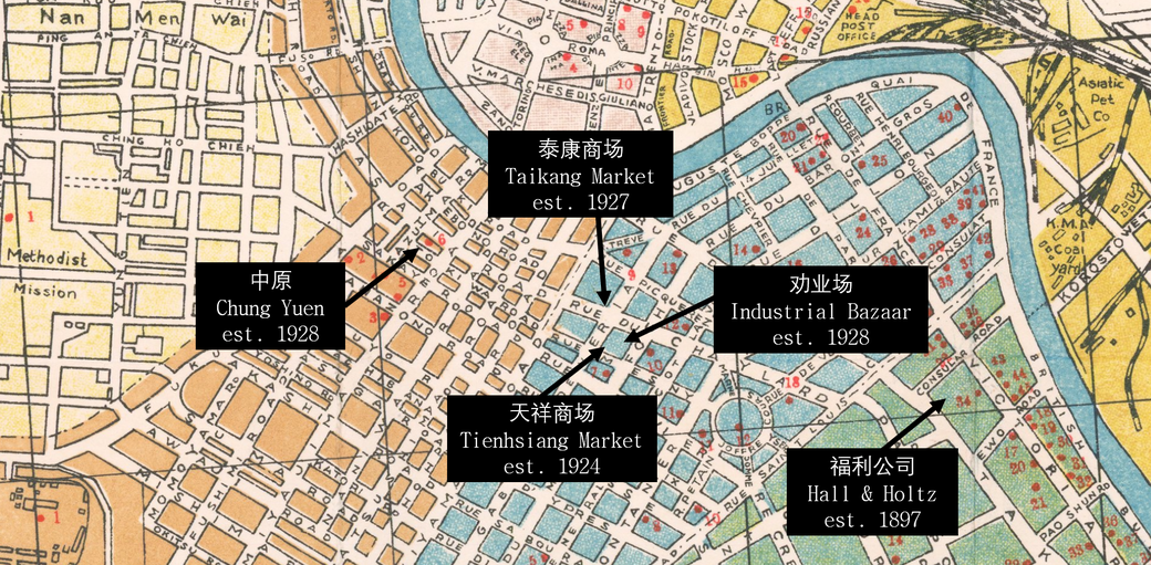 Location of the main department stores of old Tianjin