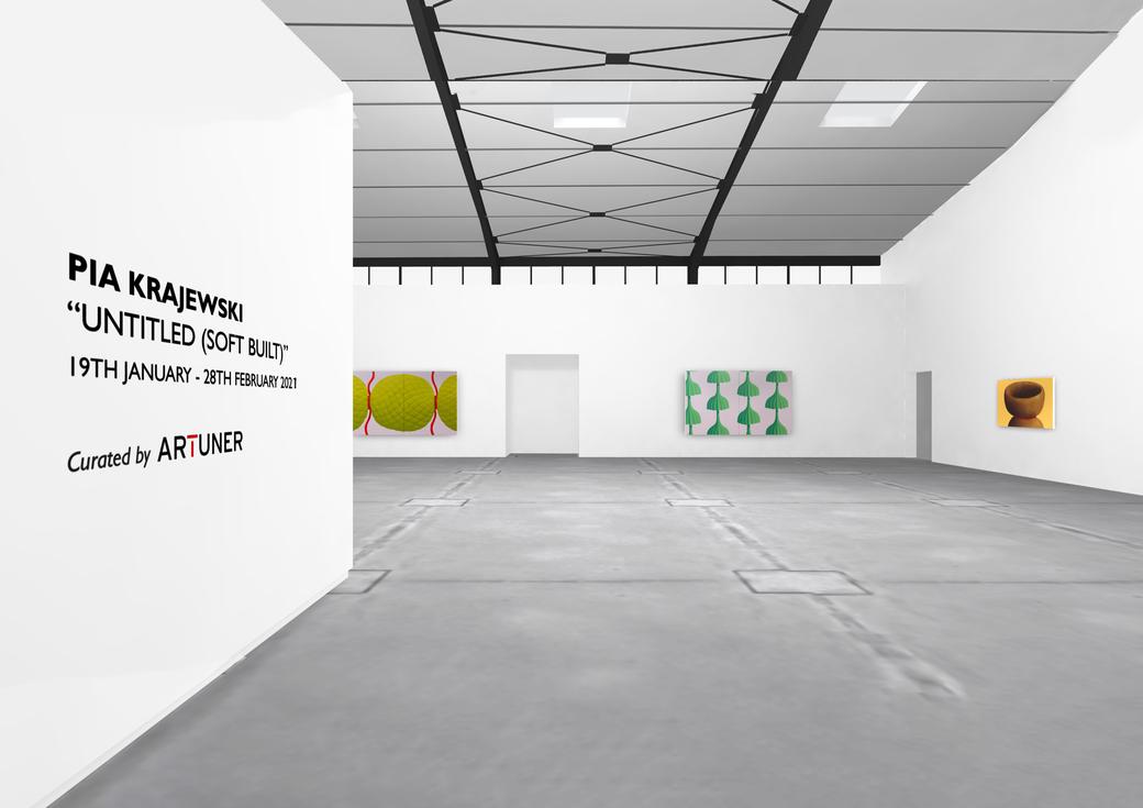 "Pia Krajewski, solo exhibition ""untitled (soft built)"" 2021, Artuner, left: oT (bonbon) 2020, 180x300cm, middle: oT (Schirme) 2020, 180x300cm, right: oT (Haarkelch) 2020, 100x150cm"