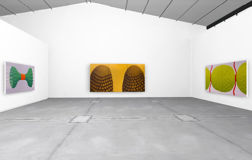 "Pia Krajewski, solo exhibition ""untitled (soft built)"" 2021, Artuner, left: oT (Bündel) 2020, 150x230cm, middle: oT (companions) 2020, 230x450cm, right: oT (bonbon) 2020, 180x300cm"