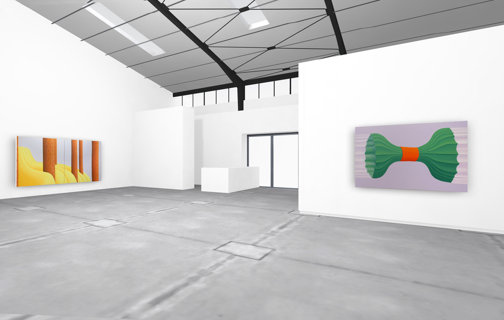 "Pia Krajewski, solo exhibition ""untitled (soft built)"" 2021, Artuner, left: oT (SäulenFabrik) 2020, 200x400cm, right: oT (Bündel) 2020, 150x230cm"