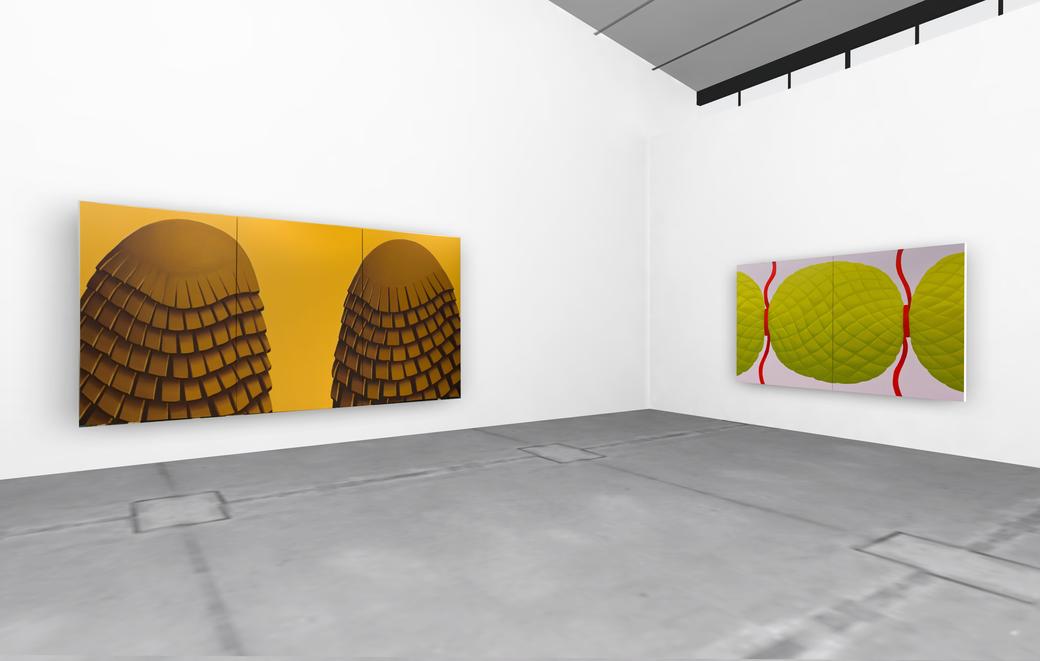 "Pia Krajewski, solo exhibition ""untitled (soft built)"" 2021, Artuner, left: oT (companions) 2020, 230x450cm, right: oT (bonbon) 2020, 180x300cm"