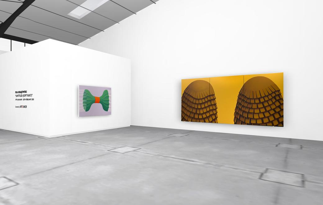 "Pia Krajewski, solo exhibition ""untitled (soft built)"" 2021, Artuner, left: oT (Bündel) 2020, 150x230cm, right: oT (companions) 2020, 230x450cm"