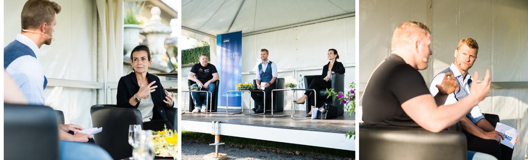 Moderator Thomas Odermatt im Gespräch mit Nicole Loeb und Matthias Glarner. TALK IM PARK, organisiert von KPMG AG Bern.