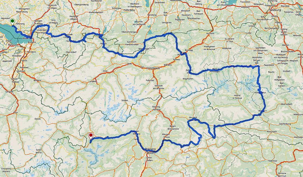 Sigma Pure GPS ... Bodensee Ehrwald Großglockner Dolomiten Stilfs, Fahrradroute, Dolomiti