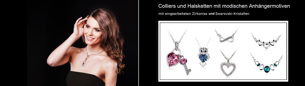 Halskette online kaufen, Halskette mit Kristallen oder Zirkonias. Halskette mit Infinityzeichen, Halskette mit Eulenanhänger (Eulenkette) und Halsketten mit Herzanhänger.