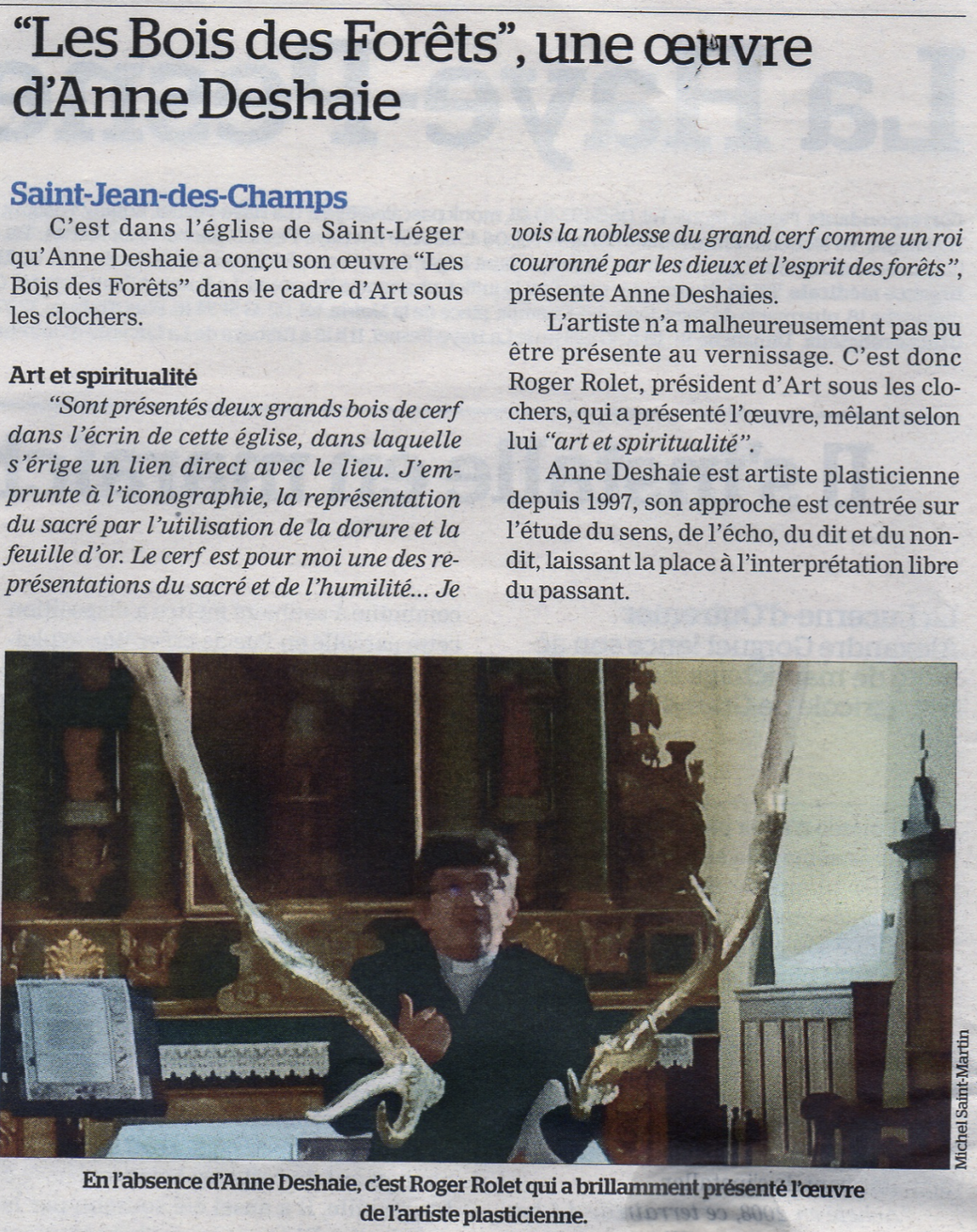 Article Installation Anne Deshaies - Saint-Léger