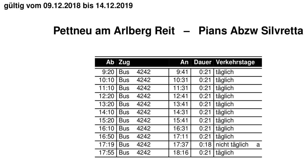 Der Busfahrplan gültig vom 9.12.2018 bis 14.12.2019