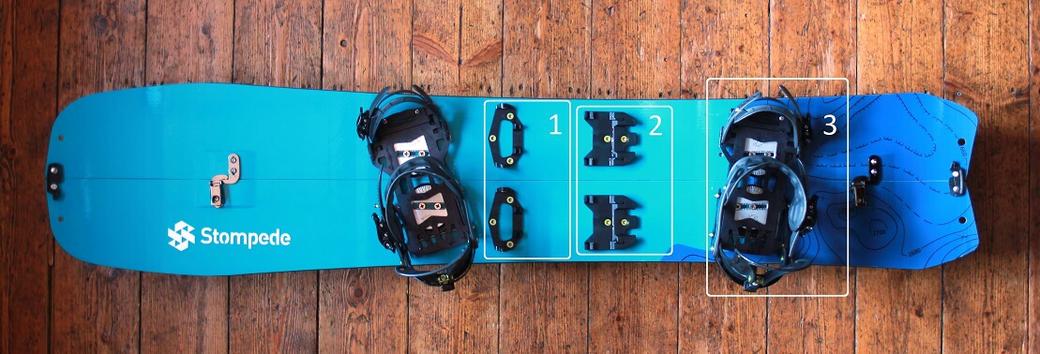 Abb. 1: Stompede Airtime Splitboard mit montiertem Voilé-Interface