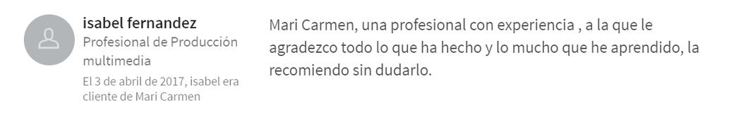 Isabel Fernández. Testimonio cliente cursos