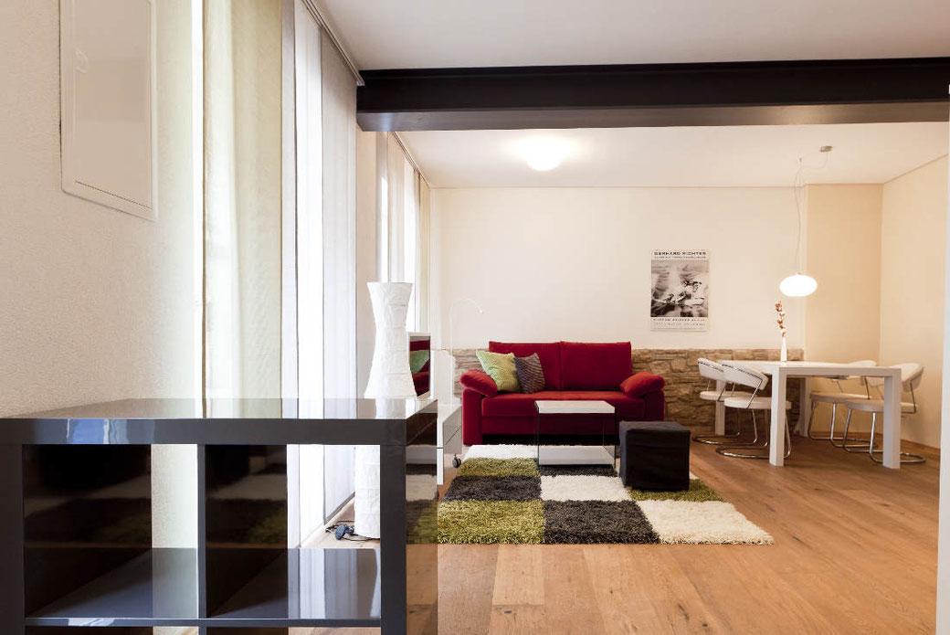 Wohnzimmer der Ferienwohnung Schunkengasse