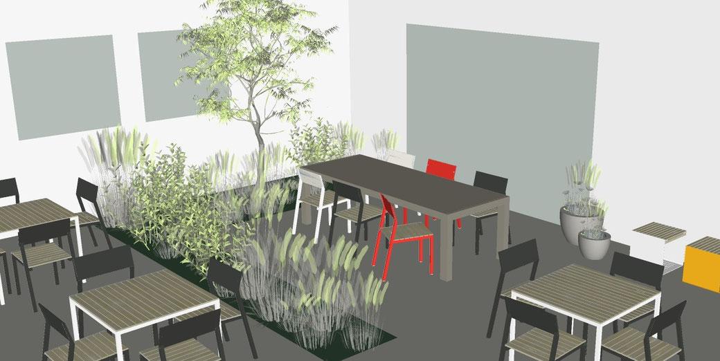 3D Visualisierung im Außenraum mit Stühlen und Sitzplätzen