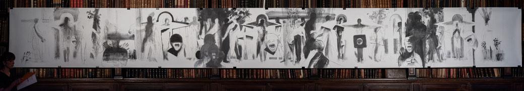 Fries, 2016, Graphit auf Fabriano 250g, 101x876cm, Foto: Joanna Pianka, Universitätsbibliothek der Akademie der bildenden Künste Wien, 09.06.2016