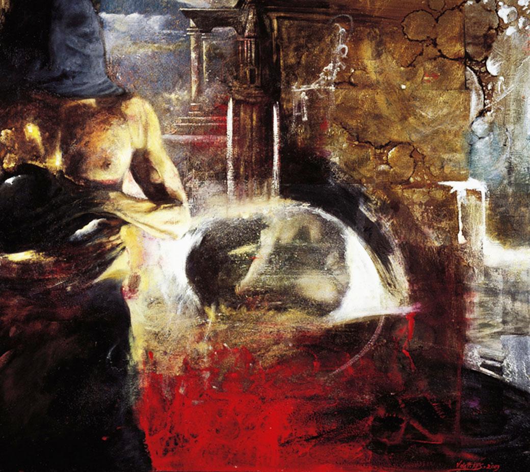 Inquisition (2003) tecnica mista su tela - mixed media on canvas, cm (90 x 80)