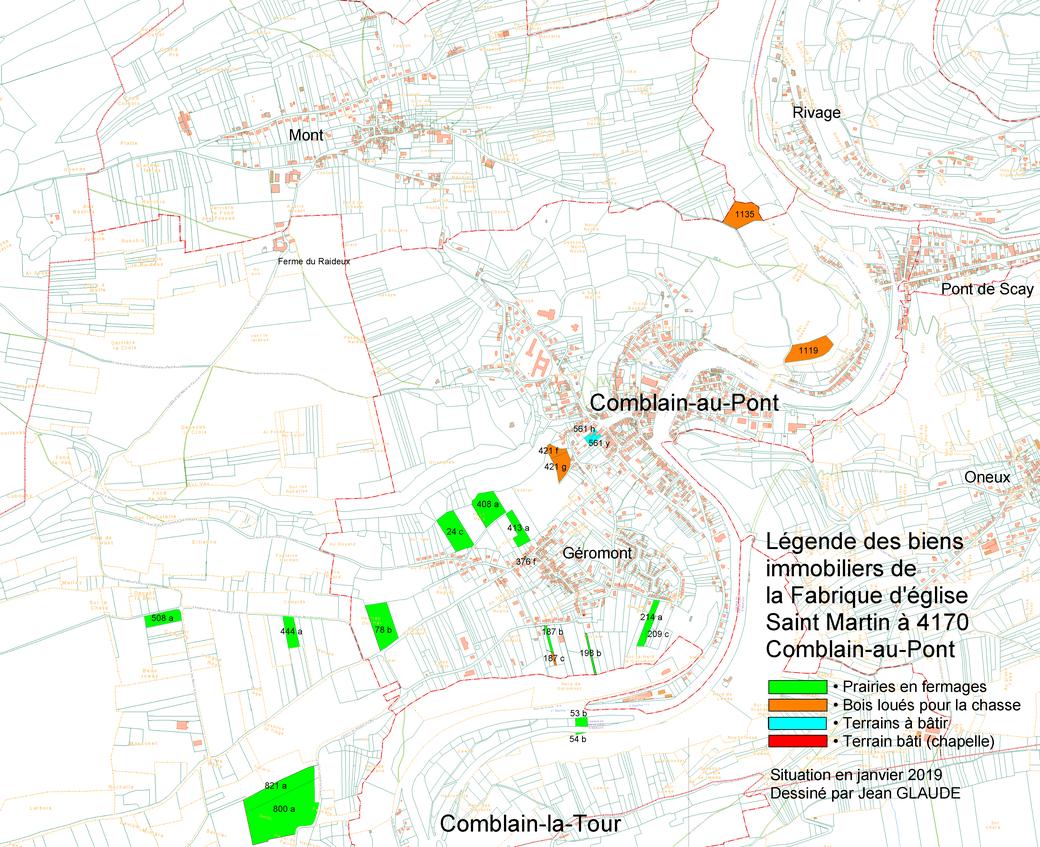 Plan cadastral de la situation des biens immobiliers de la Fabrique d'église en 2019