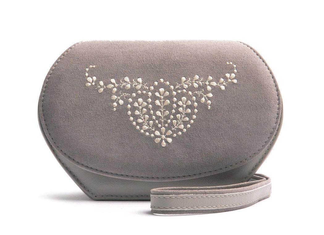 Dirndltasche  Schultertasche ANNA grau Leder  mit  Stickerei OSTWALD Traditional Craft