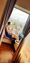 Window seat at Penthouse Orhideea, Bucharest, Romania