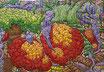 Karen Joubert, tableau fleurs, jungle, très grand tableau, très coloré avec des fleurs, dominante rouge, jaune violet