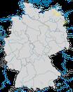 Karte zur Verbreitung der Weißbart-Seeschwalbe (Chlidonias hybrida) in Deutschland