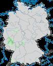 Karte zur Verbreitung der Zippammer (Emberiza cia) in Deutschland.