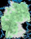 Karte zur Verbreitung des Mittelspecht (Dendrocoptes medius) in Deutschland.
