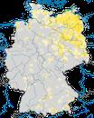 Karte zur Verbreitung des Rohrschwirls in Deutschland